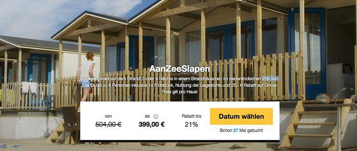 Strandhaus Holland 4 Tage im Strandhäuschen in Holland für bis zu 6 Personen ab 399€