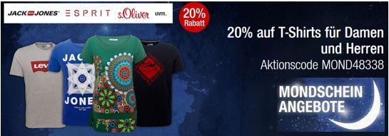 T Shirts Sale 20% auf T Shirts für Herren und Damen sowie aus dem Bereich Sport   Galeria Kaufhof Mondschein Angebote
