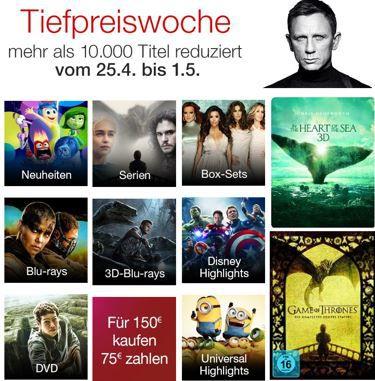 Blu rays für 150€ kaufen nur 75€ zahlen und mehr Angebote in der Amazon Tiefpreiswoche