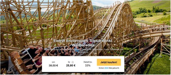Tripsdrill Tripsdrill   Erlebnis & Tierpark: Eintritt + Mittagsessen für nur 25,80€