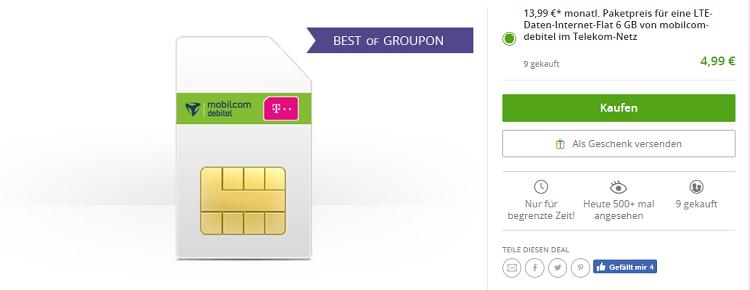 Telekom LTE Internet Flat mit 6GB für 13,99€ mtl. + einmalig 4,99€