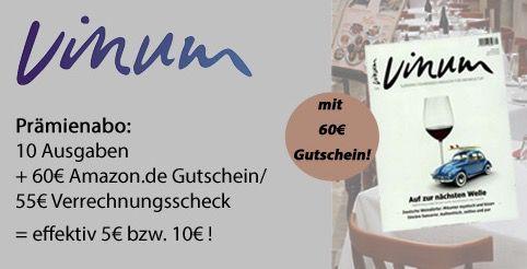 VINUM Weinmagazin 10 Ausgaben VINUM Weinmagazin für effektiv 5€ (statt 65€)