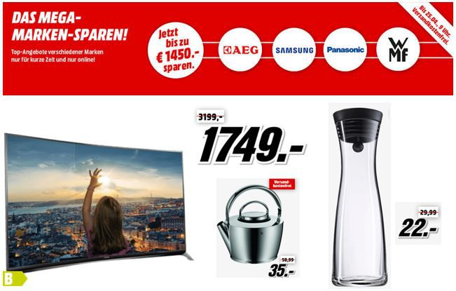 Top Angebote im Media Markt Marken Sparen: Samsung, WMF, Panasonic und AEG.