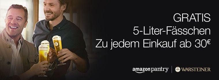 Gratis 5 Liter Warsteiner Fass (Wert 9€) ab 30€ Amazon Pantry Box   TOP!