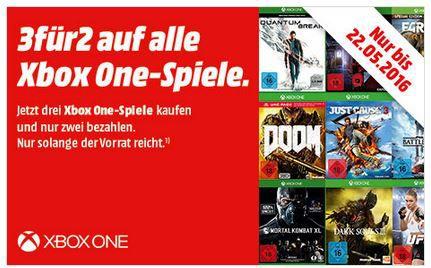Media Markt 3 für 2 Aktion auf ausgewählte XBox One Spiele