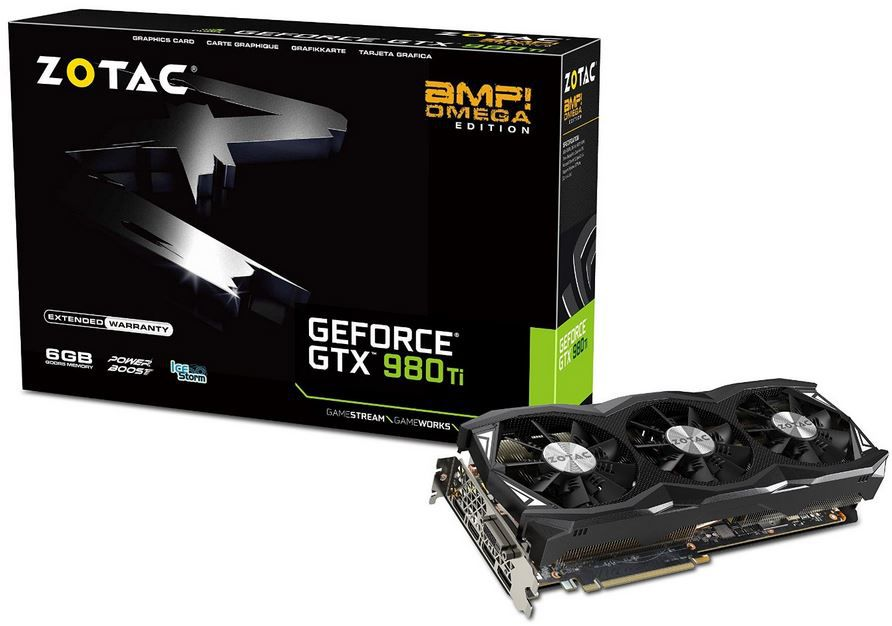 Zotac GeForce GTX 980TI Grafikkarte: ZOTAC GeForce GTX 980Ti AMP Omega Edition mit 6 GB DDR statt 660€ für 575€