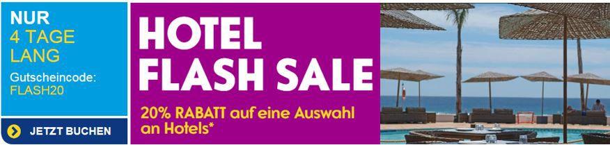 ebookers Flash Sale mit 20% Rabatt auf viele Hotels