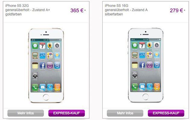 Generalüberholte iPhones und Hüllen bei vente privee   z.B. 5S ab 279€