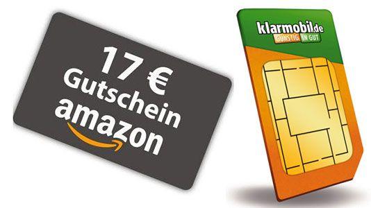 Klarmobil SIM (10€ Guthaben) + 17€ Amazon Gutschein + 0€ Grundgebühr nur 1,95€ einmalig (~ 50€ geschenkt)