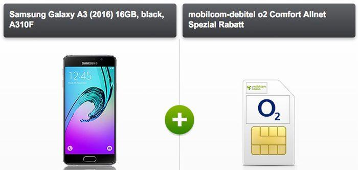 o2 Comfort Allnet  Samsung Galaxy A3/A5 + 64GB Speicherkarte + Powerbank + Hülle + o2 Allnet Flat für 15€ mtl.