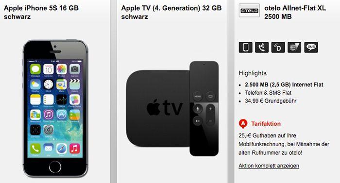 iPhone 5S + Apple TV 4. Gen + otelo Allnet Flat XL 2,5GB für 34,99€ mtl.