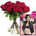 """20 rote Rosen + gratis Heft """"GLAMOUR"""" für 17,94€"""