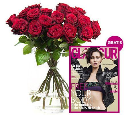 rote Rosen 20 rote Rosen + gratis Heft GLAMOUR für 17,94€