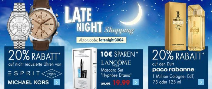 Karstadt Late Night Angebote u.a.: 20% Rabatt auf Uhren + Weitere