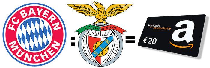 Tipp Gewinnspiel: FC Bayern vs. Benfica   einen von drei 20€ Amazon.de Gutscheine gewinnen