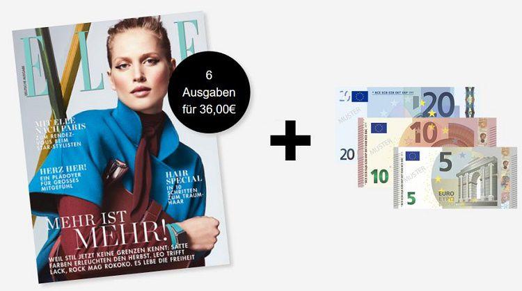 16 6 Ausgaben ELLE für 1€ dank 35€ Verrechnungsscheck