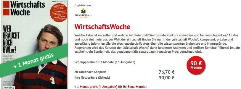 4 Monate Wirtschafts Woche für 76,70€ + 30€ Verrechnungsscheck
