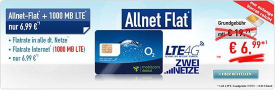 571 o2 Comfort Allnet Flat mit 1GB Datenvolumen für 6,99€
