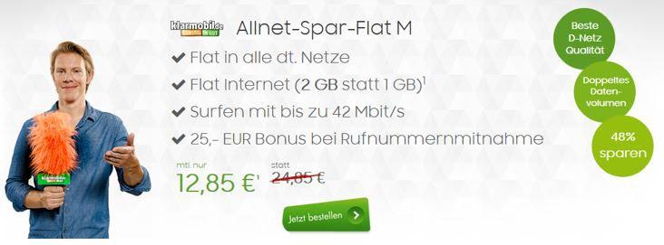 Telekom Allnet Flat mit 2GB Daten für nur 12,85€ mtl.