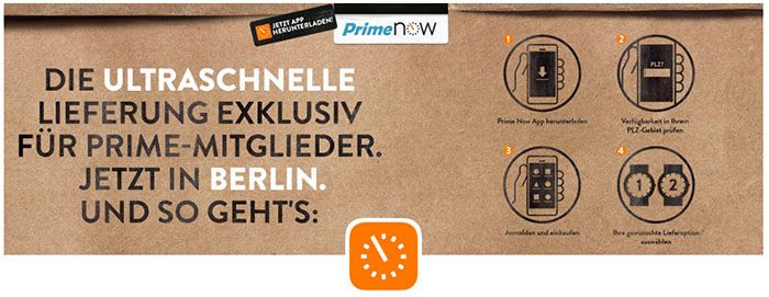 Amazon Prime Now 10€ Rabatt ab 30€ für Amazon Prime Now in Berlin