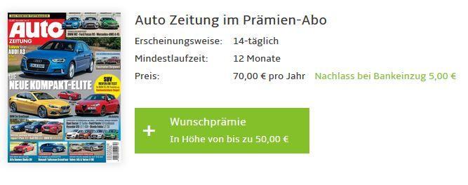 Auto Zeitung Gutschein Auto Zeitung   Jahresabo für effektiv ab 15€