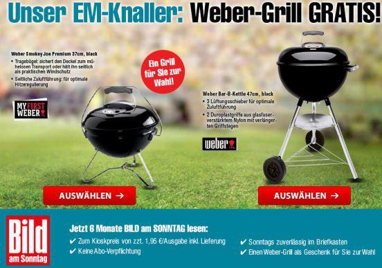 6 Monate Bild am Sonntag + Weber Grill (Idealo: 88€) für nur 50,70€