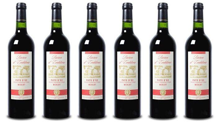 Baron Merlot 6 Flaschen Baron dEmblème Merlot Rotwein für 22,89€