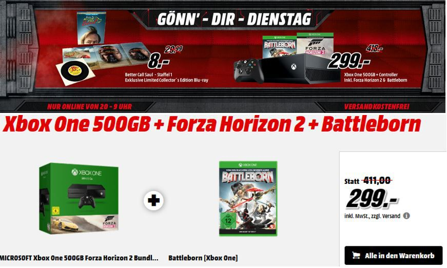 XBox one + Battleborn + Forza: Horizon 2 für 299€   Better Call Saul  für 8€   in der MediaMarkt Aktion heute