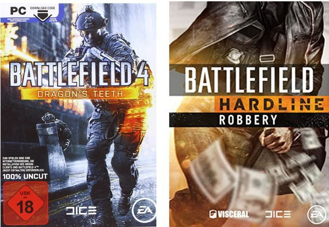 Battlefield 4 Dragons Teeth & Battlefield Hardline Robbery   gratis USK 18 Game Erweiterungen statt 22€