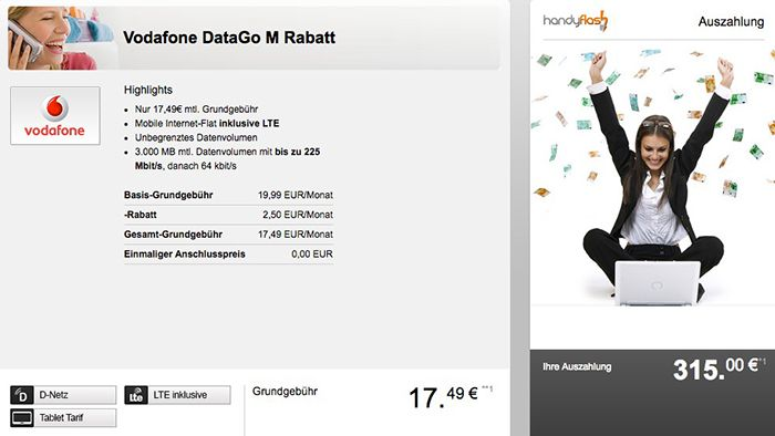 Vodafone DataGo M 3GB LTE (max. 225 Mbit/s) für effektiv 4,37€ mtl.