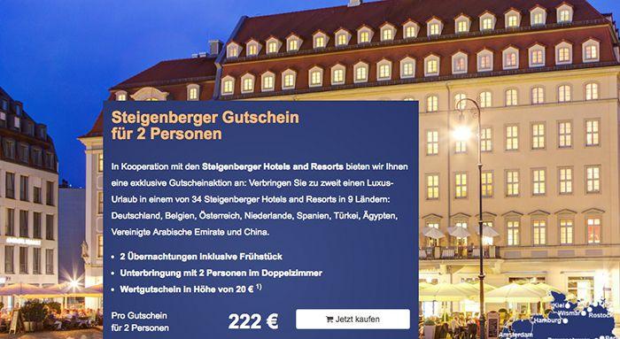 Steigenberger Gutschein für 2 Personen & 2 ÜN für 222€