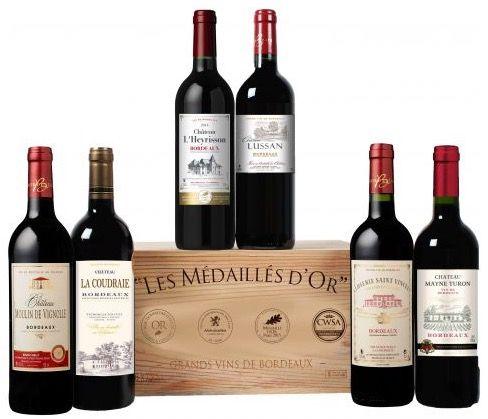 6 Flaschen goldprämierte Bordeaux Weine in Holzkiste für 40€