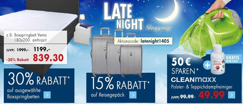 Karstadt Late Night Angebote: 30% auf Boxspringbetten & 20% extra auf reduzierte Gartenmöbel
