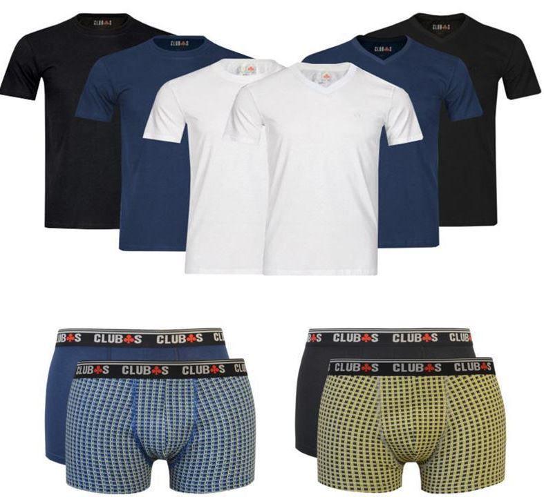 CLUB´s Herren 4er Pack T Shirts Rundhals, V Neck oder Boxershorts für je Set 12,95€