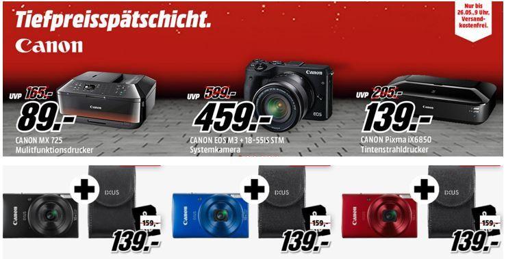 Canaon Media Markt Aktion Drucker und Kameras günstig in der Media Markt CANON Tiefpreisspätschicht