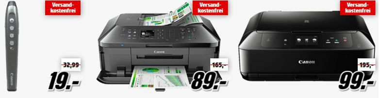 Canon Aktion Drucker und Kameras günstig in der Media Markt CANON Tiefpreisspätschicht