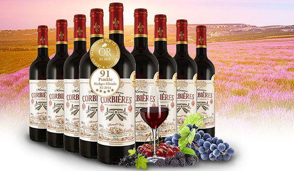 9 Flaschen Castan Corbieres Reserve Rotwein Probierpaket für 39,90€