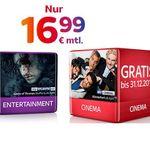 Sky Entertainment + Cinema + Sky Go + Sky On Demand + HD-Festplattenreceiver + 50€ Gutschein für 16,99€ mtl.