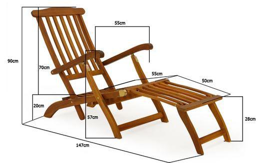Deckchair Masse Deuba Queen Mary   Deckchair aus Akazienholz für 49,95€