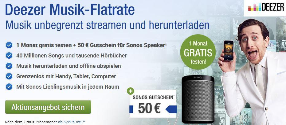 Deezer gratis 1 Monat testen und 50€ Gutschein für Sonos Speaker sichern
