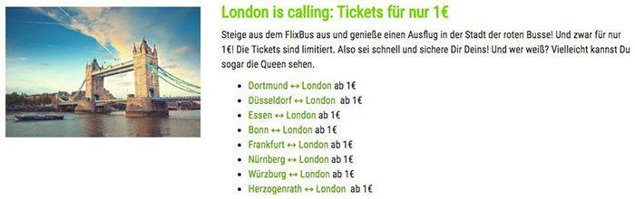 Flixbus Fahrten nach London und zurück ab je 1€