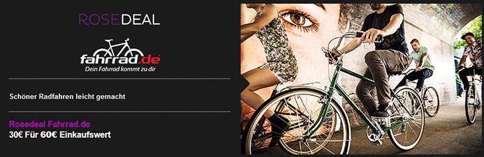 Fahrrad Gutschein 60€ Fahrrad.de Gutschein für nur 30€