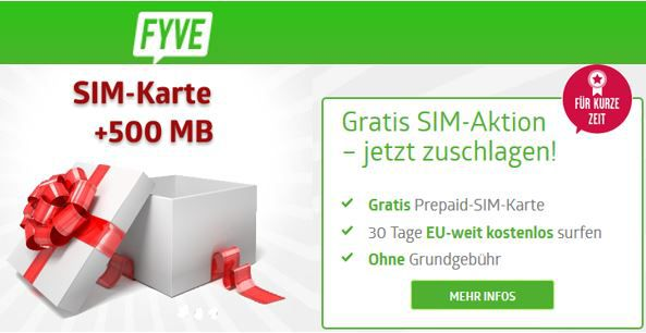 FYVE Freikarte + gratis 500MB im 1. Monat EU weit    HOT (nur einmalig 2,50€)