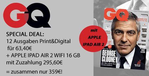 iPad Air 2 16GB Wifi + 12x GQ für 359€ (statt 444€)