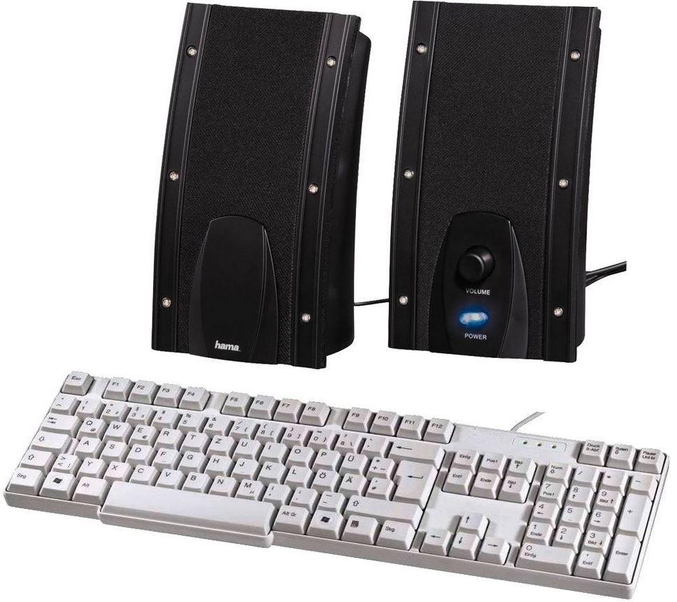 Hama USB PC Lautsprecher Negra + Standard Tastatur KE 200 für nur 9,99€