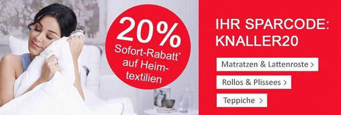 Heimtextilien 20% Rabatt auf Heimtextilien + VSK frei ab 75€ bei Neckermann   TOP!