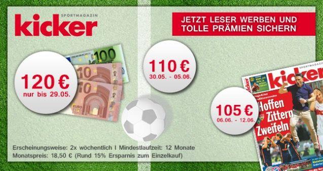 Kicker Kicker Jahresabo (104 Ausgaben) für 117€ (statt 222€)