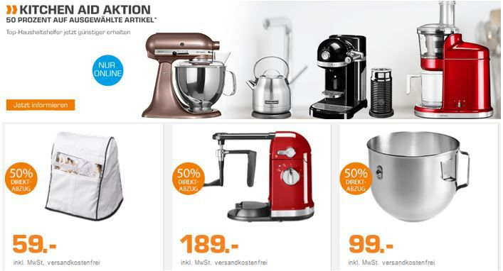 Kitchen Aid Aktion Kitchenaid Küchenmaschinen und Zubehör mit 50% Sofortrabatt bei Saturn