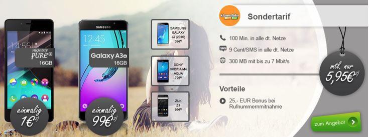 Klarmobil mini Vertrag Huawei P8 Lite + klarmobil D1 + 100min. + 300MB Daten für 5,95€ mtl. + weitere günstige Smartphones