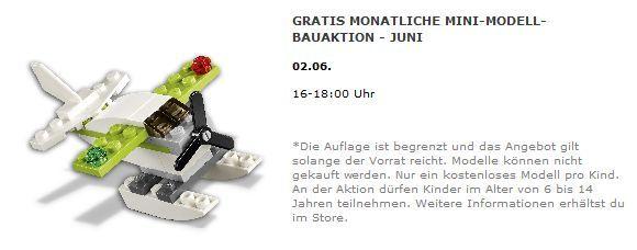 Gratis Lego Flugzeug – nur am 02.06. in teilnehmenden Lego Stores